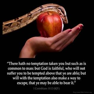 1-Corinthians_10-13: There hath no temptation taken you but such as is common to man: but God is faithful, who will not suffer you to be tempted above that ye are able; but will with the temptation also make a way to escape, that ye may be able to bear it