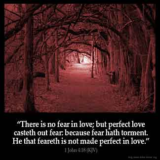 1-John_4-18: There is no fear in love; but perfect love casteth out fear: because fear hath torment. He that feareth is not made perfect in love