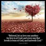 1-John_4-7:Beloved, let us love one another: for love is of God; and every one that loveth is born of God, and knoweth God