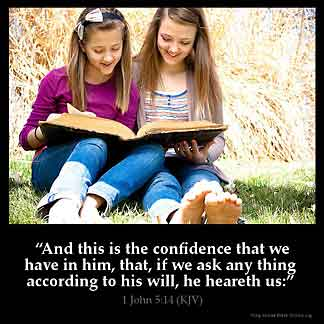 1-John_5-14: And this is the confidence that we have in him, that, if we ask any thing according to his will, he heareth us