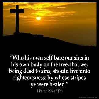 1-Peter_2-24: Who his own self bare our sins in his own body on the tree, that we, being dead to sins, should live unto righteousness: by whose stripes ye were healed