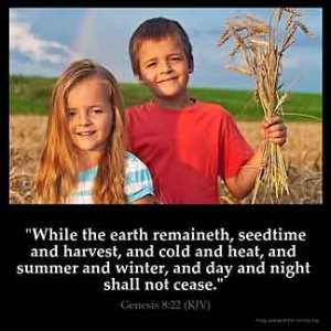 Genesis_8-22: While the earth remaineth, seedtime and harvest, and cold and heat, and summer and winter, and day and night shall not cease