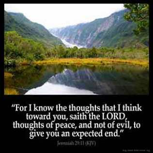 Jeremiah_29-11: For I know the thoughts that I think toward you, saith the LORD, thoughts of peace, and not of evil, to give you an expected end