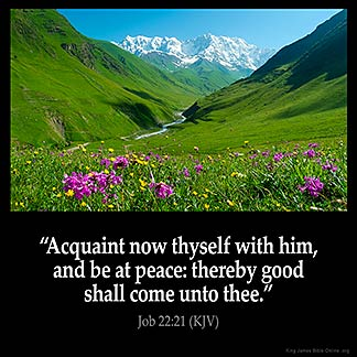 Job_22-21: Acquaint now thyself with him, and be at peace: thereby good shall come unto thee.