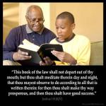Joshua_1-8: This book of the law shall not depart out of thy mouth; but thou shalt meditate therein day and night, that thou mayest observe to do according to all that is written therein: for then thou shalt make thy way prosperous, and then thou shalt have good success