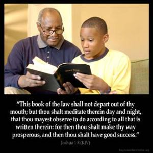 Joshua_1-8 This book of the law shall not depart out of thy mouth; but thou shalt meditate therein day and night, that thou mayest observe to do according to all that is written therein: for then thou shalt make thy way prosperous, and then thou shalt have good success