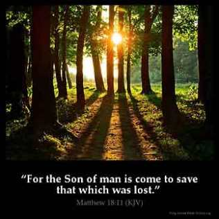 Matthew_18-11: For the Son of man is come to save that which was lost