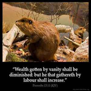Proverbs_13-11: Wealth gotten by vanity shall be diminished: but he that gathereth by labour shall increase
