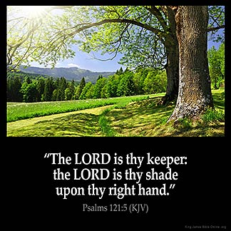 Psalms_121-5: The LORD is thy keeper: the LORD is thy shade upon thy right hand.