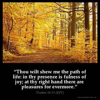 Psalms_16-11: Thou wilt shew me the path of life: in thy presence is fulness of joy; at thy right hand there are pleasures for evermore.