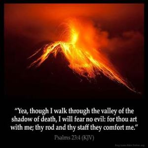 Psalms_23-4-1: Yea, though I walk through the valley of the shadow of death, I will fear no evil: for thou art with me; thy rod and thy staff they comfort me.