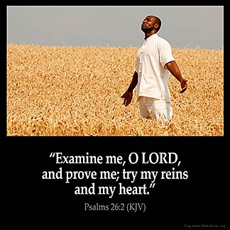 Psalms_26-2: Examine me, O LORD, and prove me; try my reins and my heart.