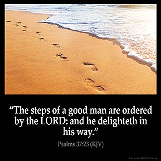 Psalms 37:23: The steps of a good man are ordered by the LORD: and he delighteth in his way.