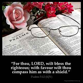 Psalms_5-12-1: For thou, LORD, wilt bless the righteous; with favour wilt thou compass him as with a shield.