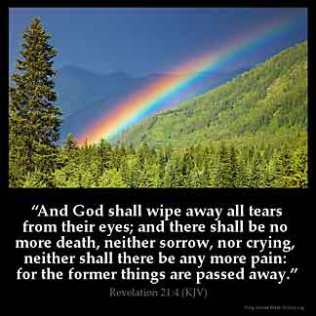 Revelation_21-4: And God shall wipe away all tears from their eyes; and there shall be no more death, neither sorrow, nor crying, neither shall there be any more pain: for the former things are passed away
