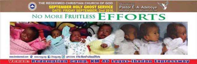No More Fruitless Efforts. RCCG September 2016 Holy Ghost Service.