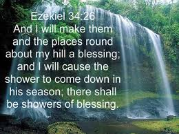I will make them and the places surrounding my hill a blessing. I will send down showers in season; there will be showers of blessing. Ezekiel 34:26